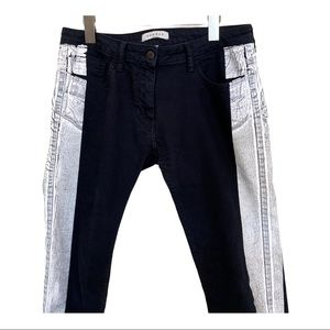 Sandro Painted Side Stripe Cropped Jeans